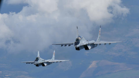 Cold War era Combat Aircrafts in Flight. Bulgarian MiG29 Fulcrum Air to Air 4K Live Action