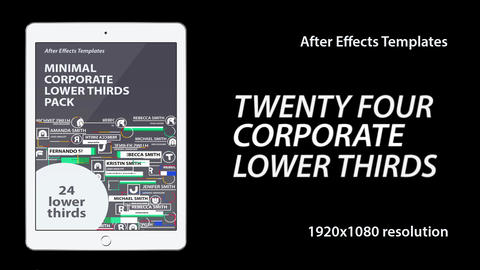 24 Minimal Corporate Lower Thirds After Effects Template
