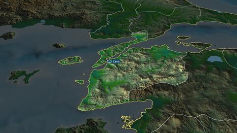 Çanakkale - province of Turkey. Physical Animation