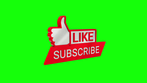 Like and Subscribe 3D Icon on Green Screen CG動画
