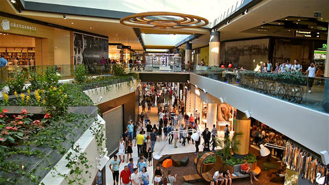 People Crowd Rush For Shopping In Luxury Mall Interior Footage