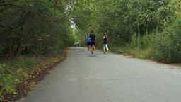 group of young runners running down road in city autumn Park Footage