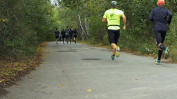 large group young runners running down road in autumn forest marathon Footage