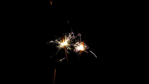 Two sparklers burning from top to bottom on black blackground HD PNG 25FPS