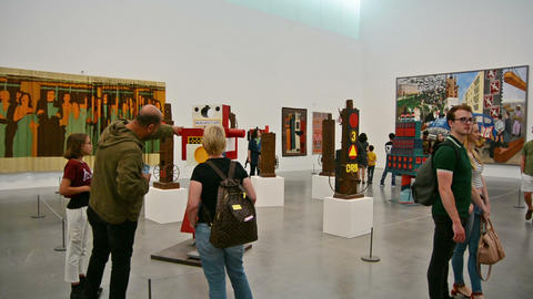 Children and families visiting the Tate Modern Gallery Footage