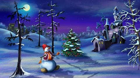 Snowman and Christmas Tree near a Magic Castle Animation