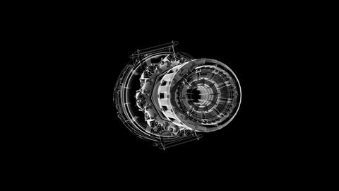 loop rotate jet engine turbine of plane, aircraft concept Animation