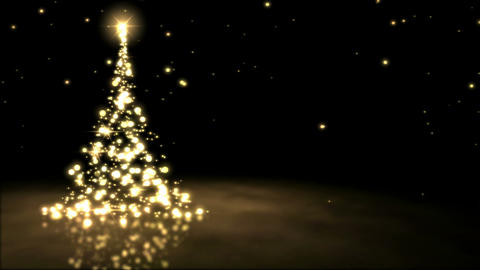 Sparkling Christmas Tree Animation - Loop Golden Animation