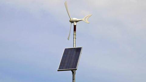 Wind generator with solar panel Footage