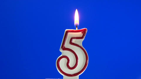 Number 5 - five birthday candle burning - blow out at the end Footage