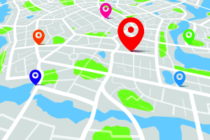 Map with destination location color point Vector