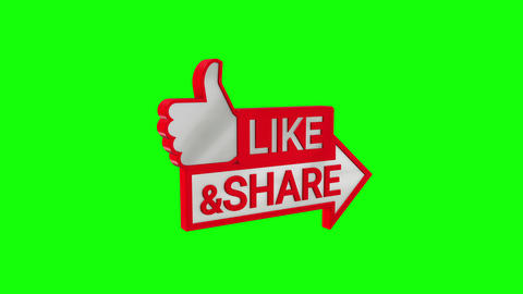 Like and Share 3D Icon on Green Screen CG動画