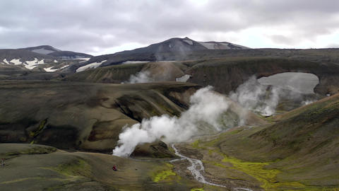 Geothermal landscape with hot water and smoke Live Action
