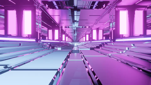 beautiful metal bottom hyperspace neon tunnel with pink lights music background Animation