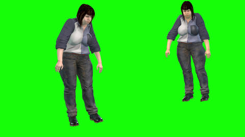 757 4k HEALTH and OBESITY 3d animated fat woman falls on streat from heart attack Animation