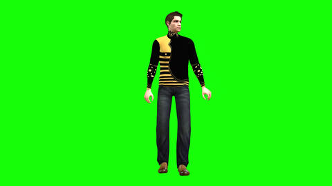 759 4k SOCIAL LIFE 3d animated man invites all guests inside Animation