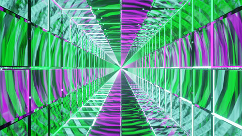 Motion graphics sci fi: straight symmetrical reflective square corridor moving Animation