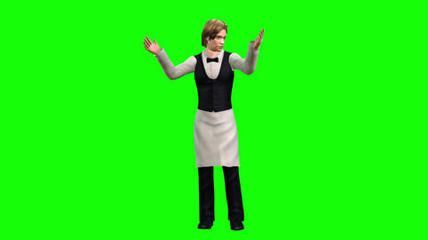 760 4k FOOD INDUSTRY two 3d animated waitress man and woman invite all in restaurant Animation