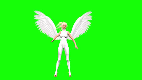 763 4k Fantasy religion idea of beauty 3d animated woman angel moving and greeting all Animation