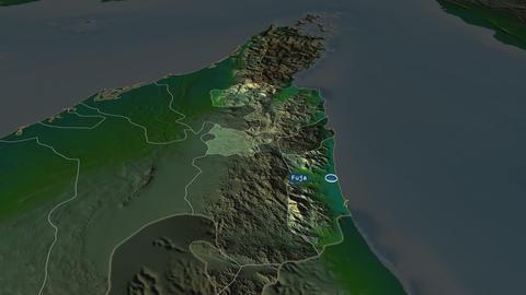Fujayrah - emirate of United-Arab-Emirates. Physical Animation