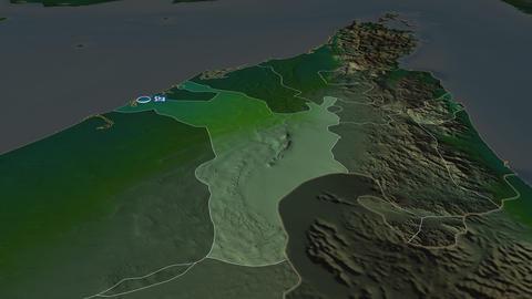 Sharjah - emirate of United-Arab-Emirates. Physical Animation