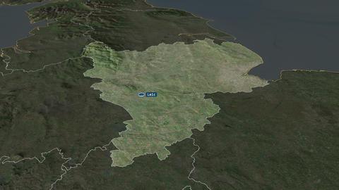 East Midlands - region of United-Kingdom. Satellite Animation