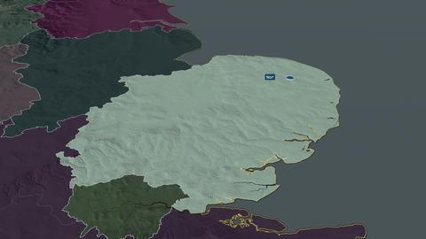 East of England - region of United-Kingdom. Administrative Animation