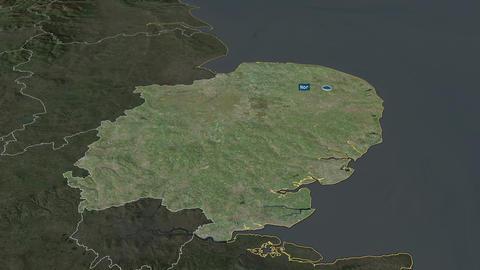 East of England - region of United-Kingdom. Satellite Animation