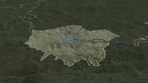 London - region of United-Kingdom. Satellite Animation