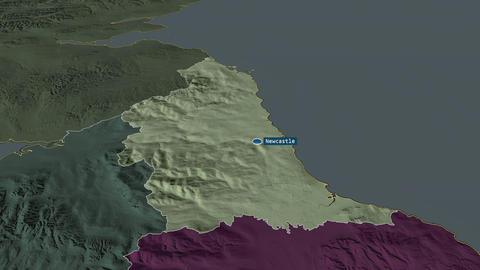 North East - region of United-Kingdom. Administrative Animation