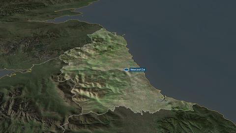North East - region of United-Kingdom. Satellite Animation