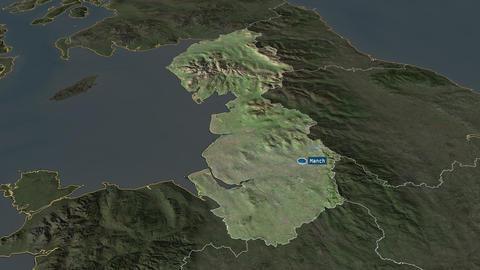 North West - region of United-Kingdom. Satellite Animation
