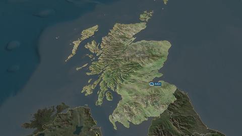 Scotland - region of United-Kingdom. Satellite Animation