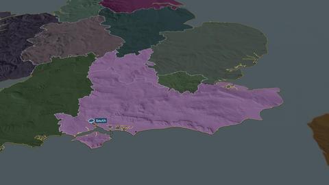 South East - region of United-Kingdom. Administrative Animation