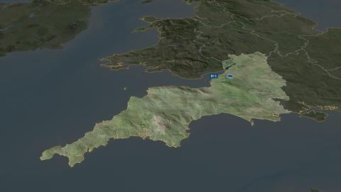 South West - region of United-Kingdom. Satellite Animation