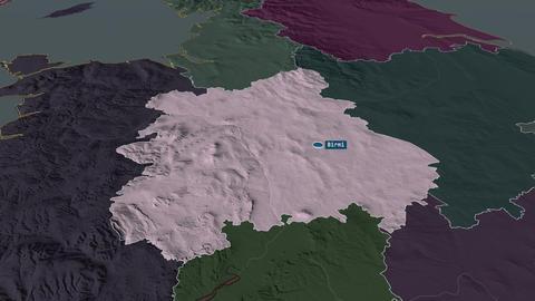 West Midlands - region of United-Kingdom. Administrative Animation