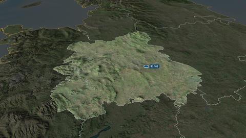 West Midlands - region of United-Kingdom. Satellite Animation