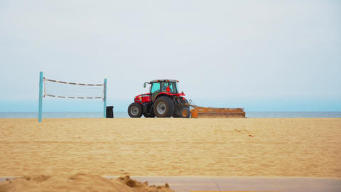 LA beach clean Santa Monica Beach Tractor Live Action