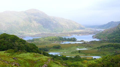Ladies viewpoint looking over Upper Lake Killarney in Ireland Live Action