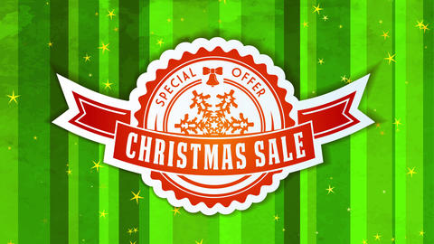 unique xmas sale proposal with mini rounded symbol with ribbon and flake detailed over season green Animation