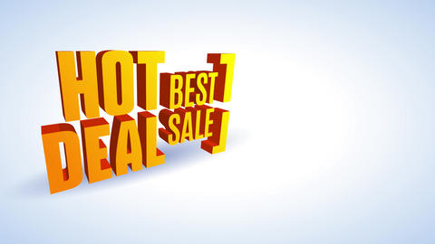 glowing deal best agreement ad written with big orange 3d printing in diagonal location over white Animation