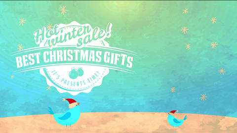 christmas giving trading ad pure lettering over container cap detailed with birds under snowy Animation