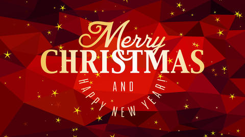 merry christmas and happy new year message with gold handwriting over red triangles gradient Animation