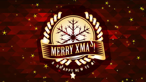merry christmas and satisfied new year announcement with gold flake icon over conceptual polygon Animation