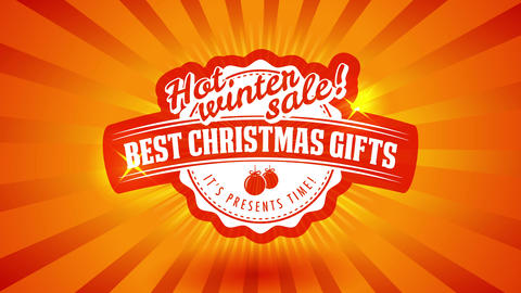 hot christmas sale call for best winter season gifts with red ball graphic over shiny sunburst Animation