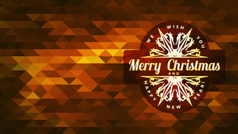 merry christmas satisfied new years symbol with a flake with pointy spikes over crimson abstraction Animation