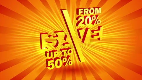 shiny sale announcement with 3d numbers and letters over sunburst background for special discount Animation