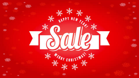 striking new year and christmas sale concept with prominent lettering surrounded by snowflakes over Animation