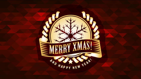 merry xmas and happy new year announcement with golden snowflake icon over abstract polygon Animation