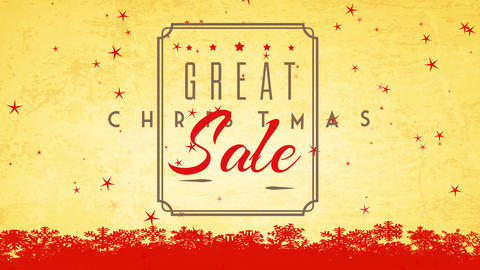 classic xmas selling publicity with silky seal and lettering over paper texture background with red Animation